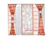Эскиз-5. Проект современных штор для гостиной.