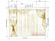 Эскиз-7. Проект классических штор для гостиной.