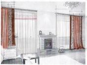 Эскиз-8. Современные шторы для гостиной.