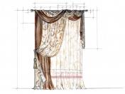 Эскиз-9. Проект классических штор для зала.