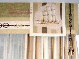 Фото-60. Аппликация в морском стиле на гладком ламбрекене для штор в детскую.