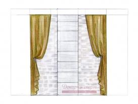 Эскиз-16. Японские шторы с портьерами в комнате мальчика.