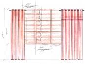 Эскиз-4. Комбинация штор на люверсах и римской шторы.