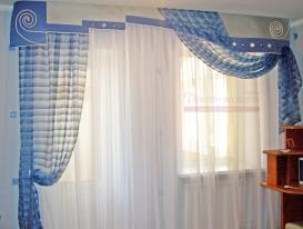 Фото-8. Шторы в морском стиле с гладким ламбрекеном для детской комнаты мальчика.