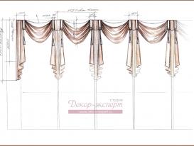 Эскиз-1. Текстилный декор окна для кафе.