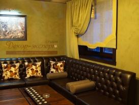 Фото-22. Римские шторы для ресторана в зелёной комнате.