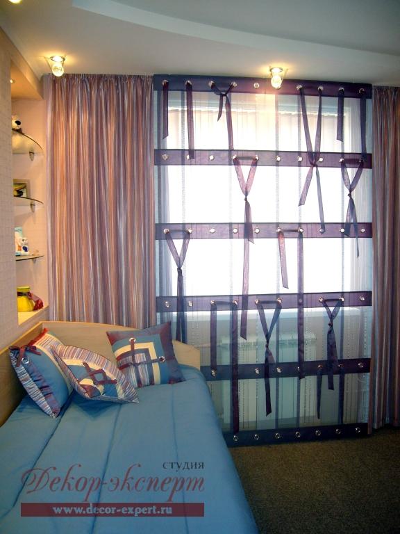 Ленточки на римской шторе