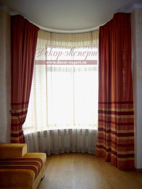 Шторы для гостиной в русском стиле, шторы в эркере, шторы в Тольятти