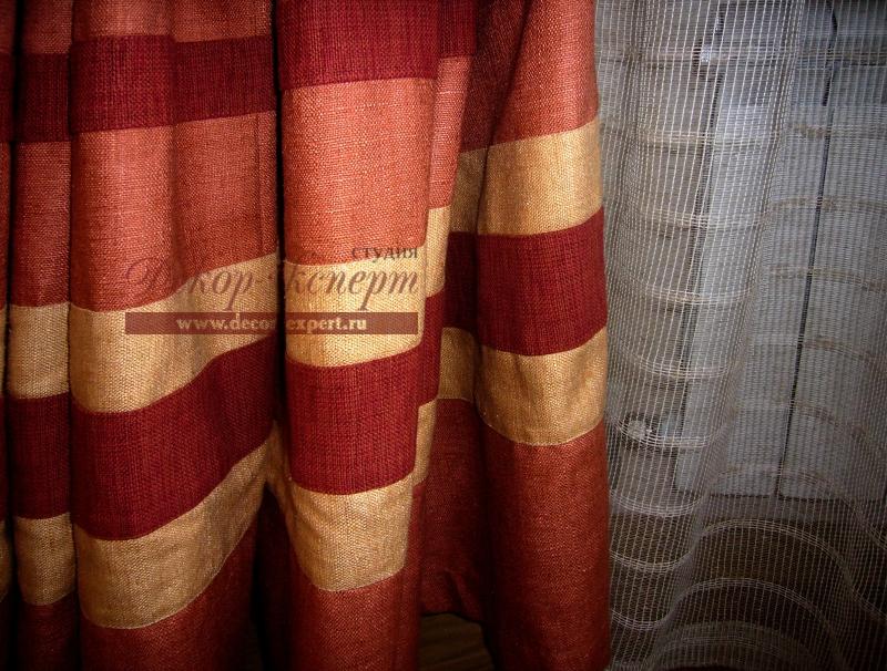 Фрагмент портьеры из натурального шёлка и тюля.