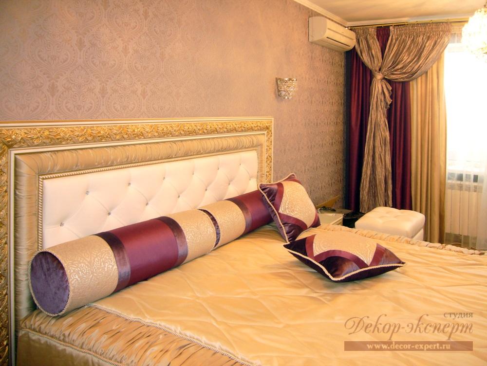 шторы и покрывало для спальни в современном классическом стиле в Тольятти, дизайн штор Светлана Никитина