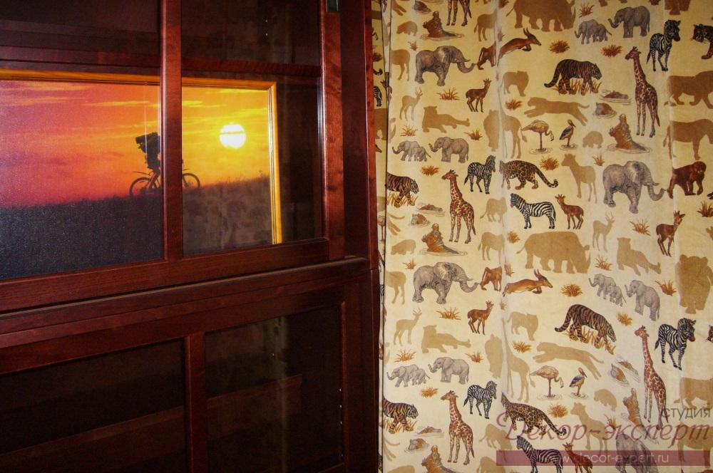 Фрагмент штор в стиле Сафари для кабинета.Карниз с электро приводом.