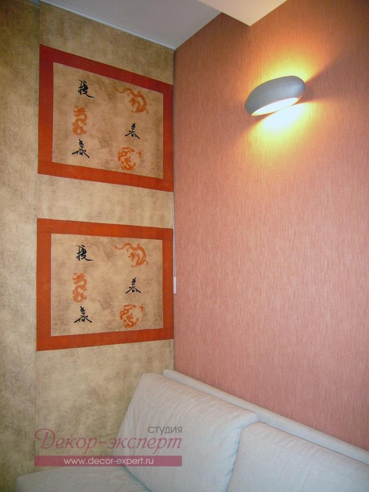 Японские шторы для комнаты мальчика, фрагмент.