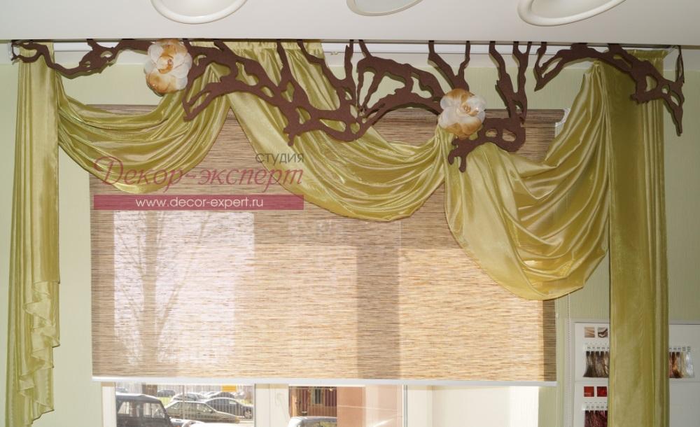 Ажурные ламбрекены и рулонные шторы в Тольятти