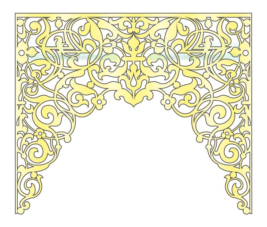 Эскиз ажурного ламбрекена для арочного окна