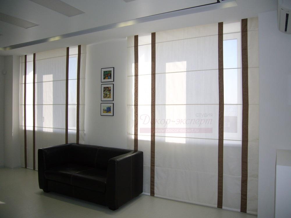 Римские шторы с электроуправлением для комнаты отдыха руководителя.