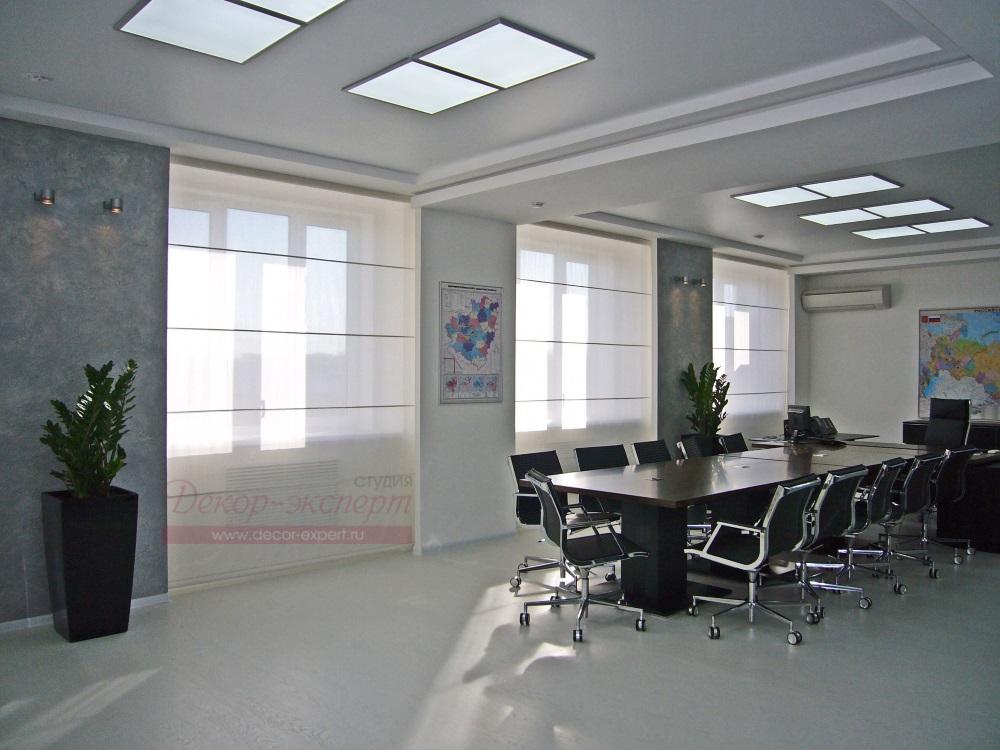 Римские шторы с электроуправлением для кабинета руководителя.