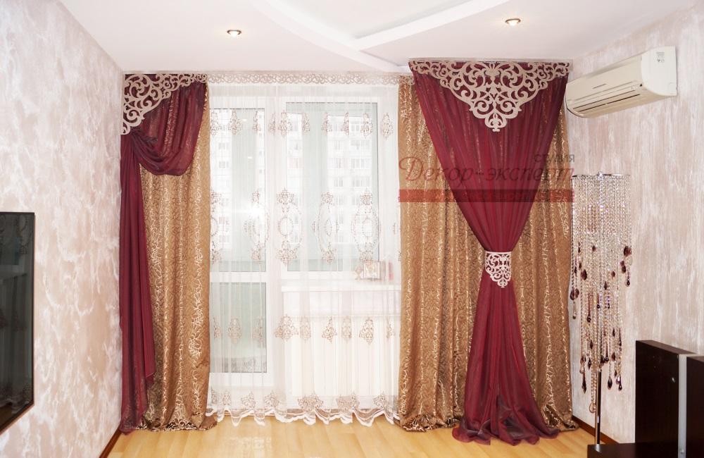 Дизайн штор с ажурным ламбрекеном