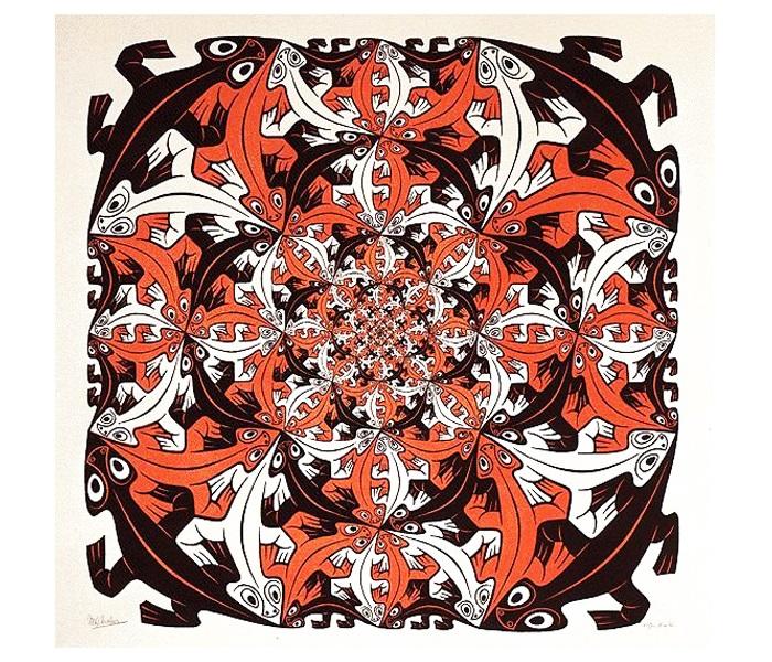 Эшер. Круговорот. 1956, цветная литография.