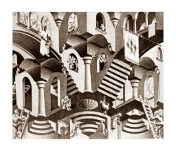 Эшер. Выпуклые и вогнутые. 1955, литография.