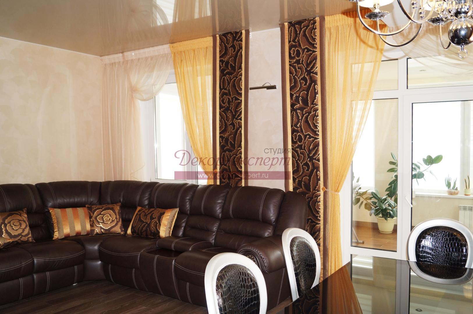 Японские шторы в гостиной. Тольятти.