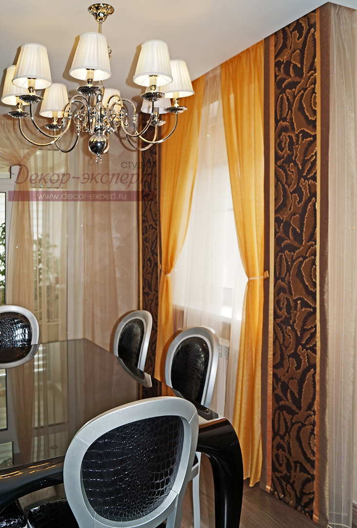 шторы для столовой зоны в гостиной