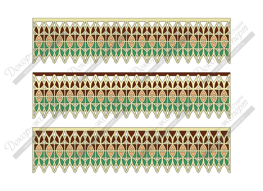 Эскизы многоцветных ажурных ламбрекенов витражного типа