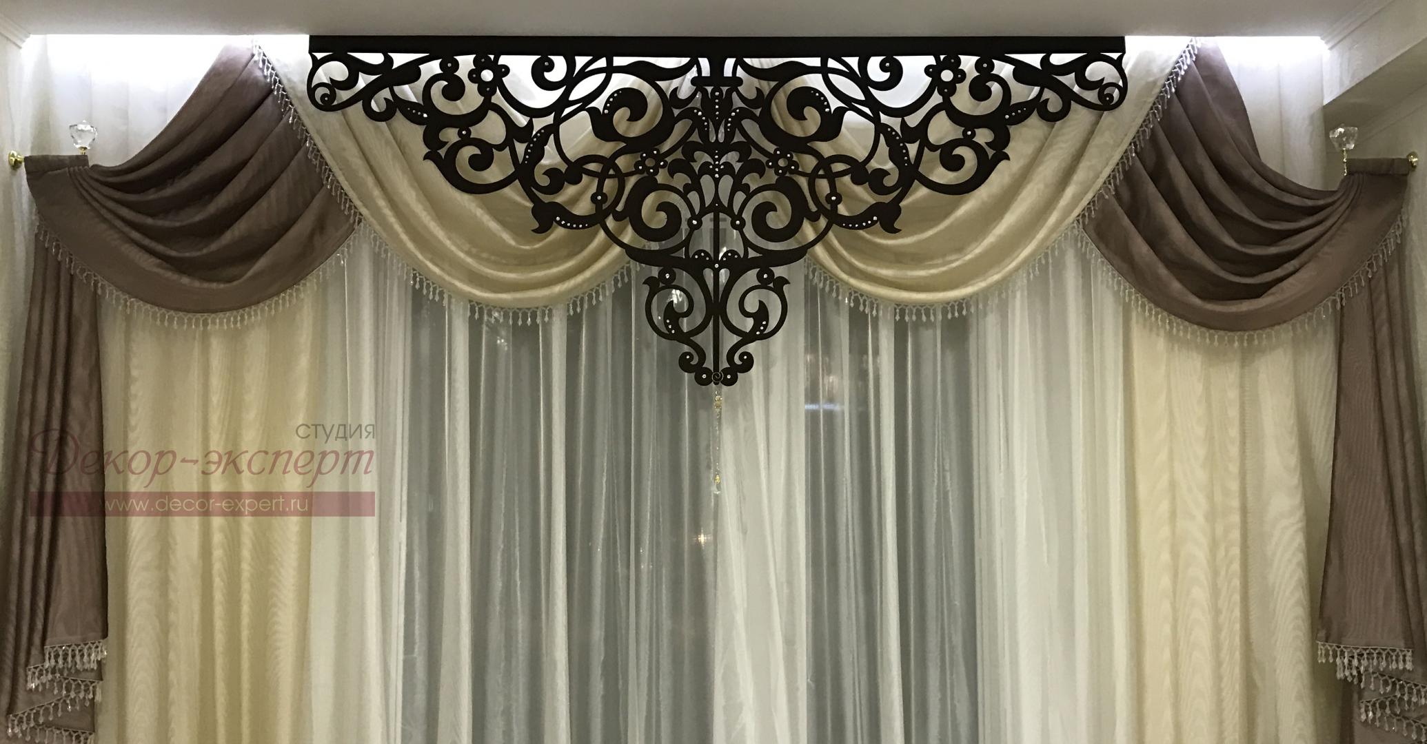 """Ажурный ламбрекен """"Флоренция"""" в комплекте со шторами . Фрагмент."""