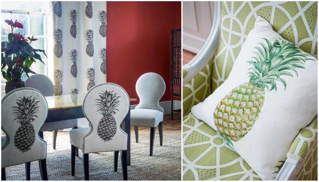 Ткань бренда Sanderson, коллекция Art of the Garden с принтом ананаса и геометрическим узором.