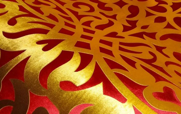 Двухцветный ажурный ламбрекен для мечети, фрагмент