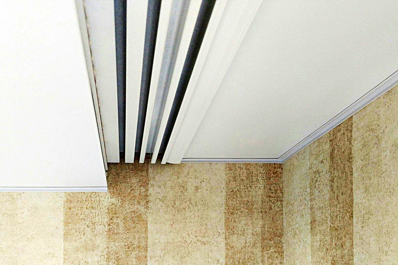Алюминиевый карниз для штор интегрированный в натяжной потолок
