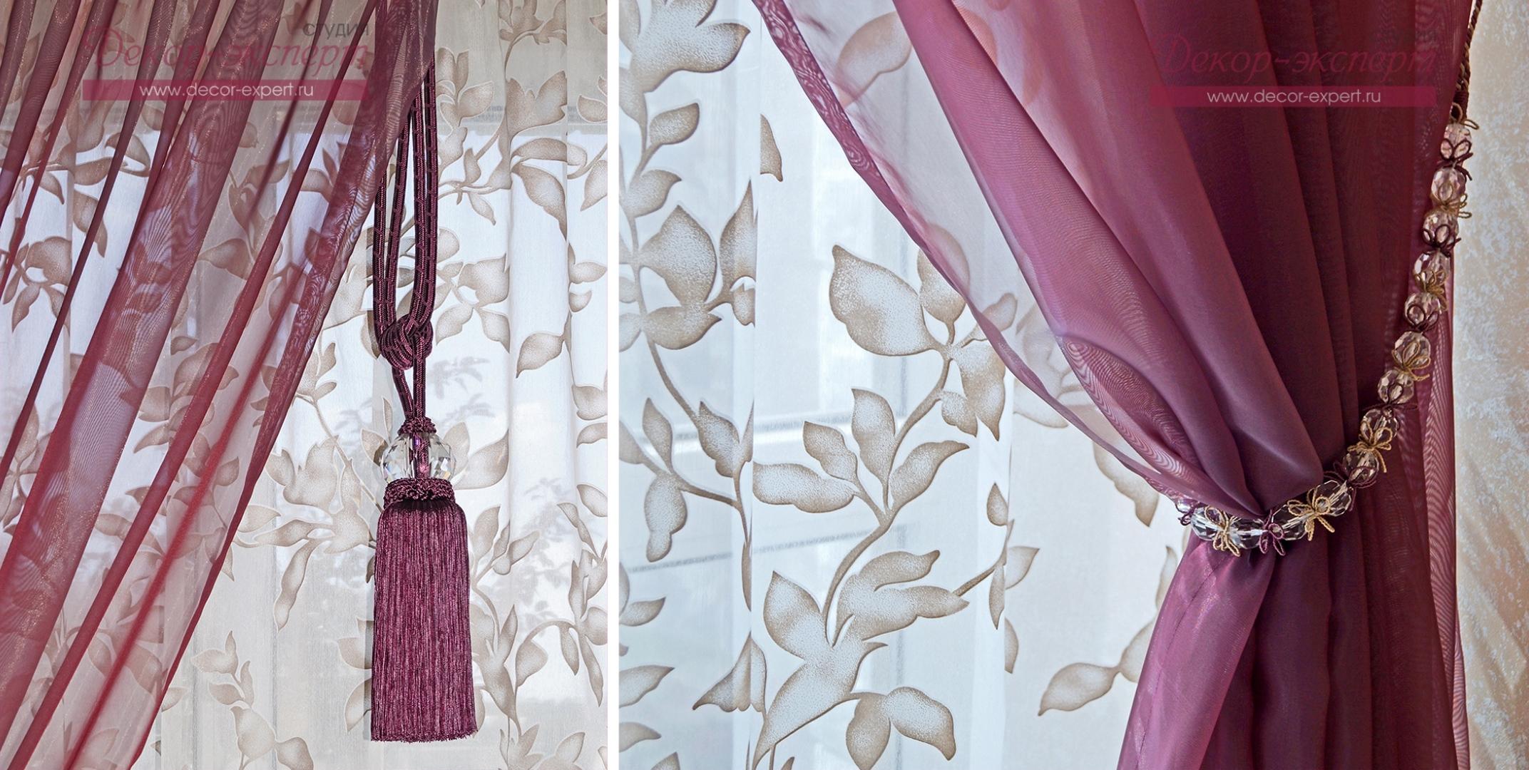 декоративная кисть и подхват из бусин для штор на кухне в стиле прованс в Тольятти