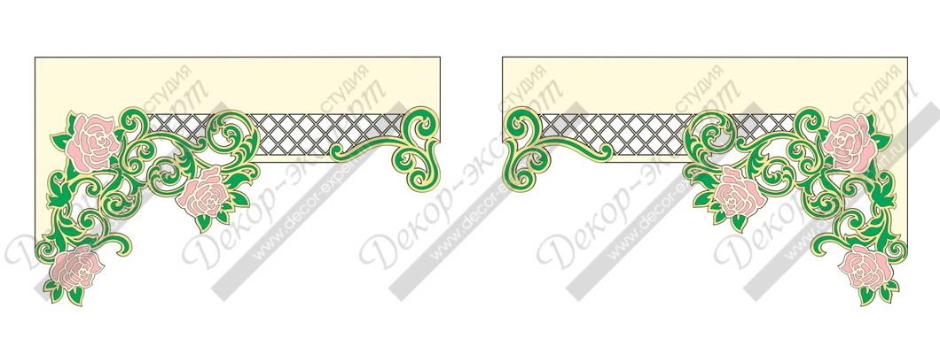 """Два асимметричных  многоцветных ламбрекена дизайн """"Испанская роза"""""""