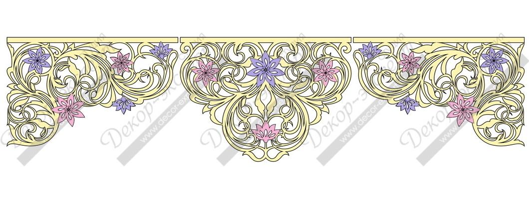 "Ажурный ламбрекен дизайн ""Винтажные цветы""."